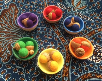 Sorting Felted Acorns and Colored Bowl Set/ Learn Colors and Counting