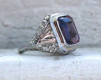 Vintage 14K White Gold Amethyst Engagement Ring - 3.15ct.