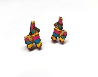 Painted Pinata Earrings | Laser Cut Jewelry | Hypoallergenic Studs | Wood Earrings