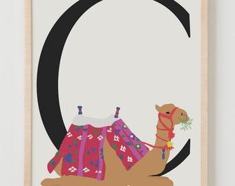 Animal Alphabet, C is for Camel Fine Art Print