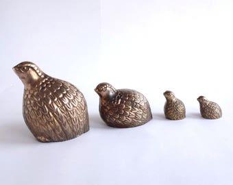 Mid Century Brass Quail Family, Hollywood Regency Figurine Set of Four, Vintage Brass Birds