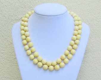 Vintage Ciner necklace, 2 strand necklace with cream colored glass beads, c.1950's costume jewelry