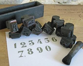 Printers block stamp set of numbers 0 - 9 plus brush- vintage French wooden printing stamps
