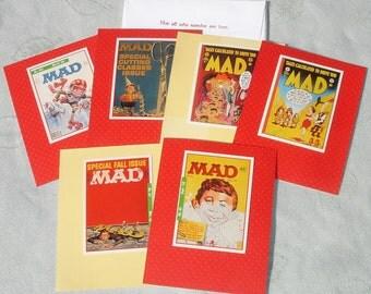MAD Magazine Cartoon Handmade Card Set - Blank Inside - Set of 6