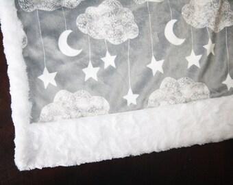Clouds Baby Boy Blanket - Baby Girl MINKY Blanket, Minky Baby Blanket, Clouds Baby Blanket, Ready to Ship Baby Blanket, Moon Stars Nursery