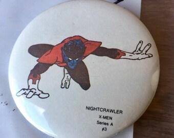 1984 Nightcrawler X-Men Pinback Button, Series A, #3, Free Shipping