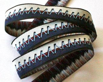 "Ribbon - 5/8"" x 5 yards Zig Zag Stitch in Navy Blue, Off White, Maroon and Black"