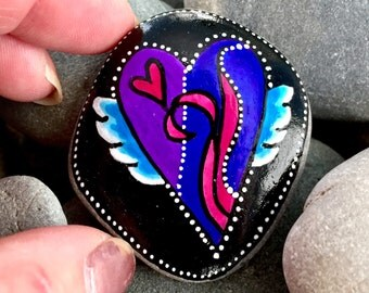 send love out / heart rocks / painted rocks / painted stones / paperweights / rock art / heart stones / winged hearts / gift of love / rocks