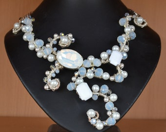 White Opal & Crystal, White Pearl Wire Wrapped Bridal Bib Necklace - 30% Off