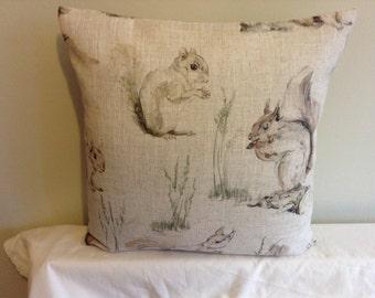"Modern retro 16"" Squirrel  linen colour cushion cover, pillow, pillow case, scatter cushion."