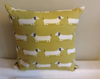 "Modern 16"" ochre, yellow, grey, gray dashound, sausage dog cushion cover, scatter cushion, pillow case"