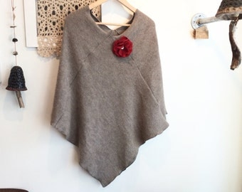 Alpaca poncho in mushroom with flower pin, cape,  gift for her, stole/ wrap made from recycled wool