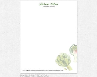 nutritionist dietitian letterhead - full color front, blank back - 70 lb. smooth white paper - FREE design - FREE UPS ground shipping