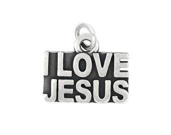 Sterling Silver Religious I Love Jesus Charm Pendant