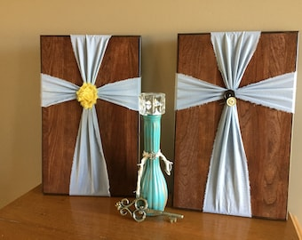 Wood Fabric Crosses Upcycled Sign Artwork