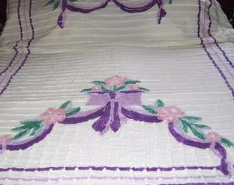 Vintage Chenille Bedspread Lavender Pink and Green on Snow White Background Flowers Bows 91 W X 99 Long Lovely Cottage Style Bedroom Decor