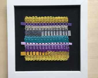 SALE - 50% reduced - Purple and green hand-woven modern textile framed weave