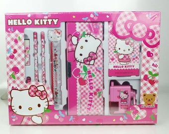 Hello Kitty Stationery set, pencil box, ruler, notebook, pencils, rubber and sharpener, birthday gift for girls, back to school, party favor