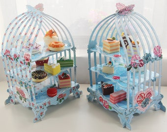 Birdcage cake display, DIY cardboard cupcake display stand, wedding reception cupcake stand, party dessert stand, floral cake stand