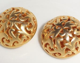Designer BEN AMUN Ornate Round Open Work Gold Tone Clip On Signed Earrings