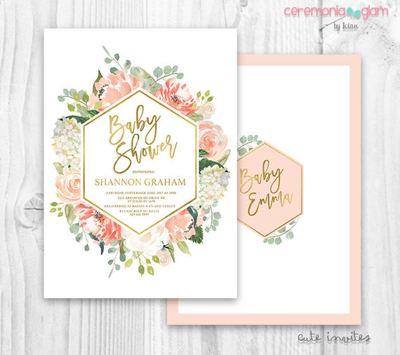 floral baby shower invitation floral peach and gold, Baby shower invitations