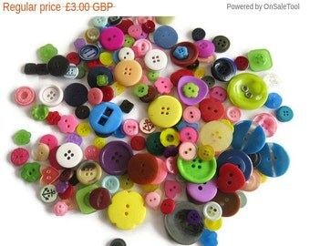 On Sale ON SALE 100gms Random Assorted Buttons - Assorted Multi Sized Buttons - Random Mixed Buttons