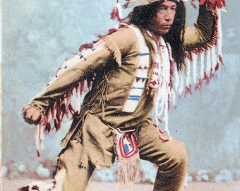 "Ca. 1903 ""Ojibwa Brave - Arrowmaker"" Topographical Picture Postcard - 2432"