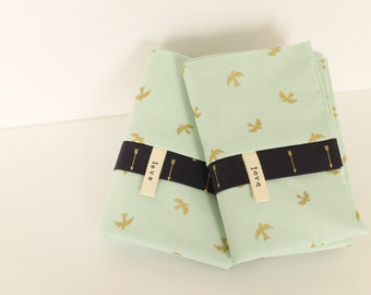 Mint Birds Pillowcases Gold Navy Blue Arrows Spring SET Bedding Cottage Chic Love Cotton Africa Adoption