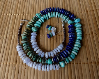 31 Inch Four Color Southwestern Freeform Gemstone, Shell Heishi and Turquoise Necklace with Earrings