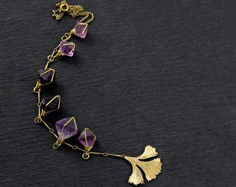 GINGKO Y NECKLACE - Waterfall Of Florite Crystals