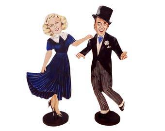 Fred Astaire and Ginger Rogers  Hand Painted 2D Art Figurines