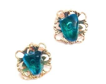 Vintage Jewelry, Vivid Blue Earrings, Gold Tone SUMMER SALE