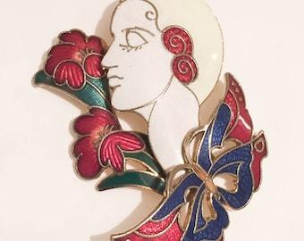 Lady Brooch, Enamel Pin, Art Deco Revival 1960s Vintage Jewelry SPRING SALE
