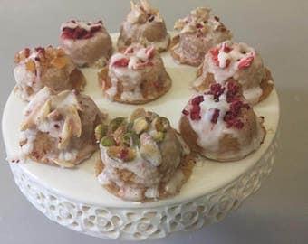 Vegan  Gluten free Mini Vanilla  donuts with vanilla glaze 12 pieces