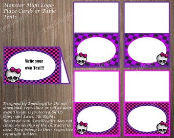 Monster High Logo Place Cards or Table Tents ~INSTANT DOWNLOAD~