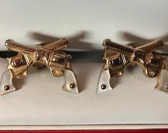Vintage Swank Crossed Western Six Shooter Cufflinks