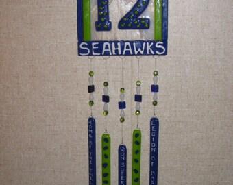Seattle Seahawks Fused Glass Windchime - Item 8-1077