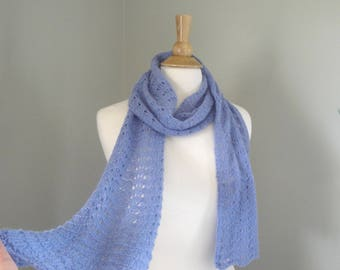 Knitted Scarf, Lavender Purple, Pure Cashmere, Light Weight Lacy Wrap Scarf for Women, Luxurious Knit Scarf