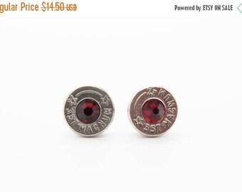 30% OFF SALE Bullet Earrings . 357 Magnum Nickel Plated Brass  . January Garnet