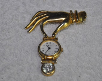Vintage AFJ Watch Brooch