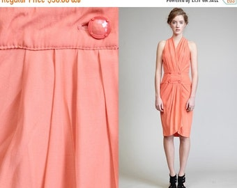 50% OFF ENTIRE STORE Vintage 90s Cut Out Back Plunging Peach Dress // Cross Over Front // Cocktail