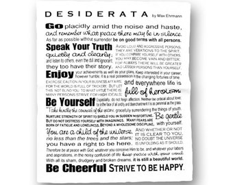 Desiderata Poem - Max Ehrmann Throw Blanket - Inspirational Home Decor - Black and White Office Graduation Gift - Design by Ginny Gaura