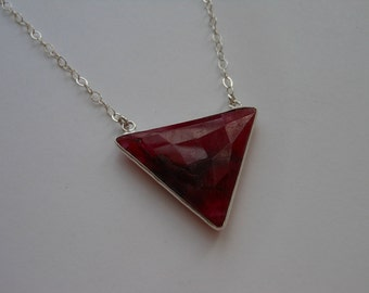 Ruby Necklace, Triangle Necklace, Geometric Necklace, Sterling Silver, Gift for Best Friend, Modern Jewelry, Red Ruby Necklace