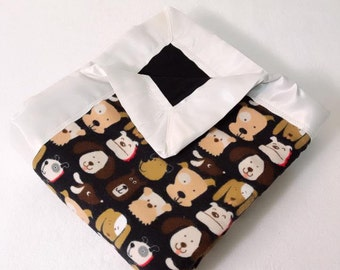 Dog / Puppy Double  Sided Flannel Blanket w/ Satin Binding