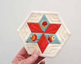 Mini Star Quilt, Diamond Quilt, Mini Mini Quilt, Fiber Art, Geometric Mini Quilt, Star Quilt