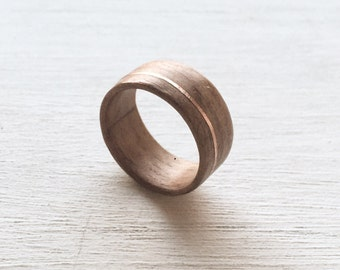 Wooden Wedding Band made of Walnut with Copper Inlay - 10mm