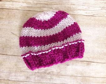 Raspberry light pink striped, hospital cap, Hospital hat, newborn girl hat, newborn beanie hat, photo prop, shower gift, new mother gift,