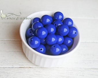 Acrylic cobalt royal blue 20mm big chunky necklace beads bubblegum beads