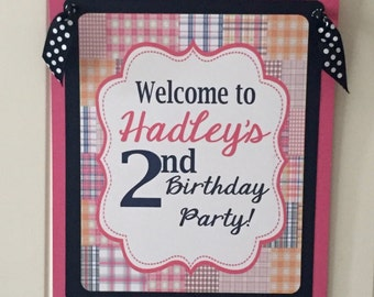 GIRLY PREPPY PLAID Happy Birthday or Baby Shower Door or Welcome Sign - Pink Navy - Party Packs Available
