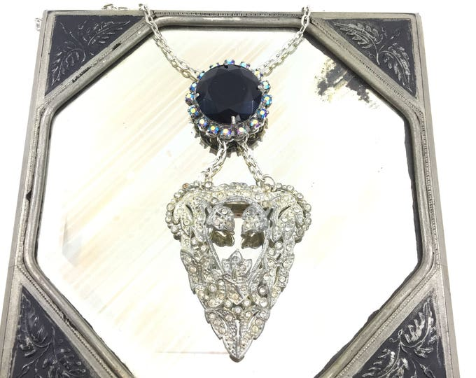 Vintage Rhinestone Dress Fur Clip Necklace with Faceted Black Stone